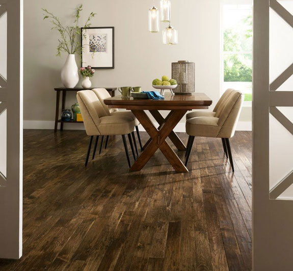 installing hickory hardwood in the living room