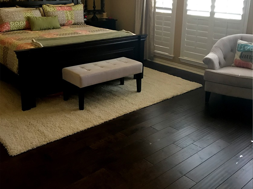 Dark engineered hardwood floors installed in frisco tx for Bedroom furniture 75034