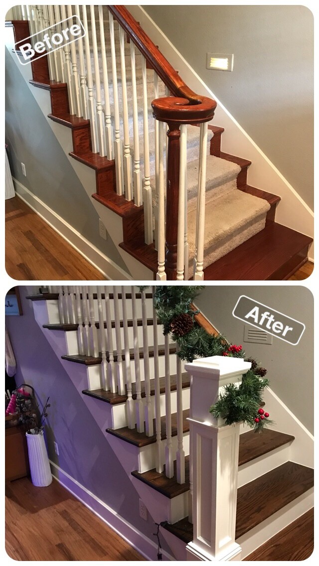 Red oak wood stairs Frisco Texas