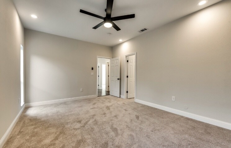 Carpet installation with new baseboards
