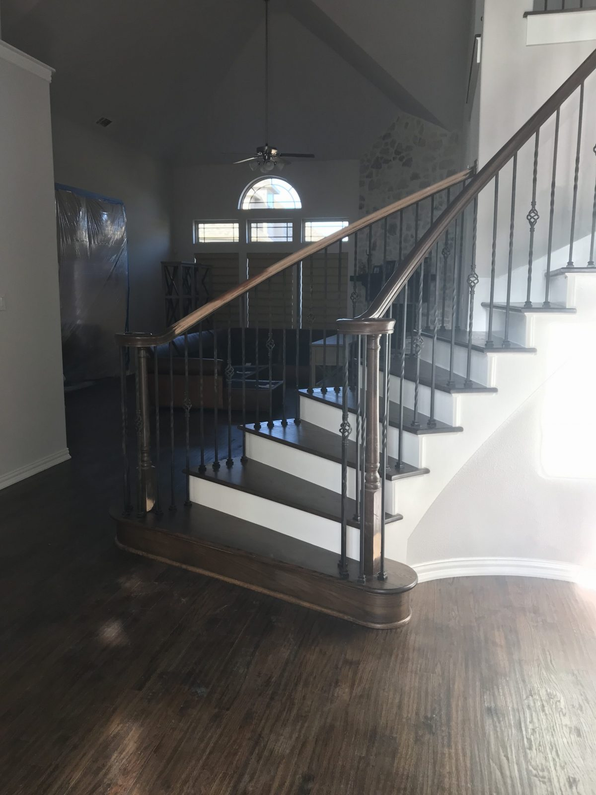 New Red Oak Wood Staircase in Frisco Texas