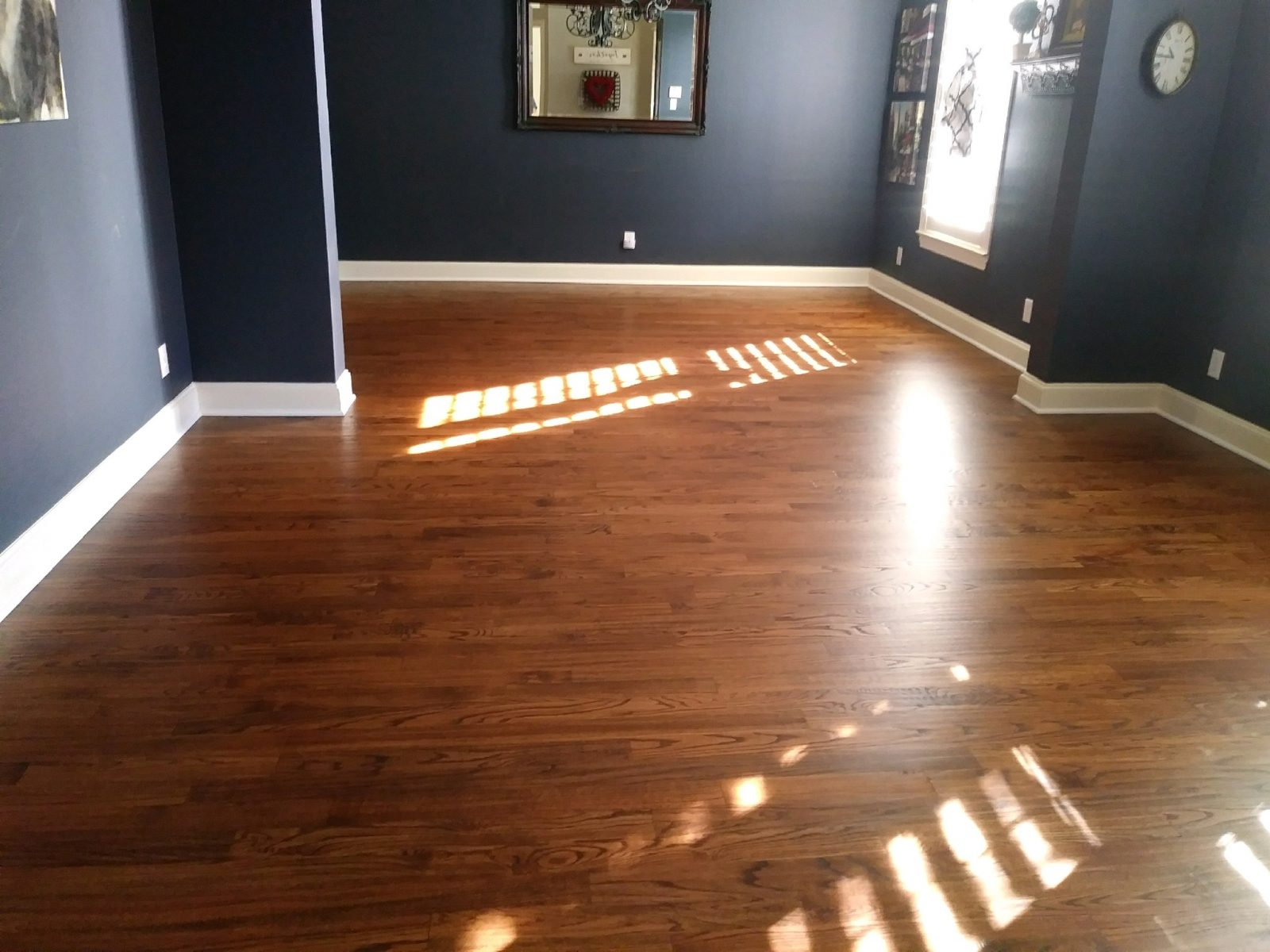 Solid Red Oak 3.25″ #1 Common floors with fresh polyurethane – Frisco, Tx