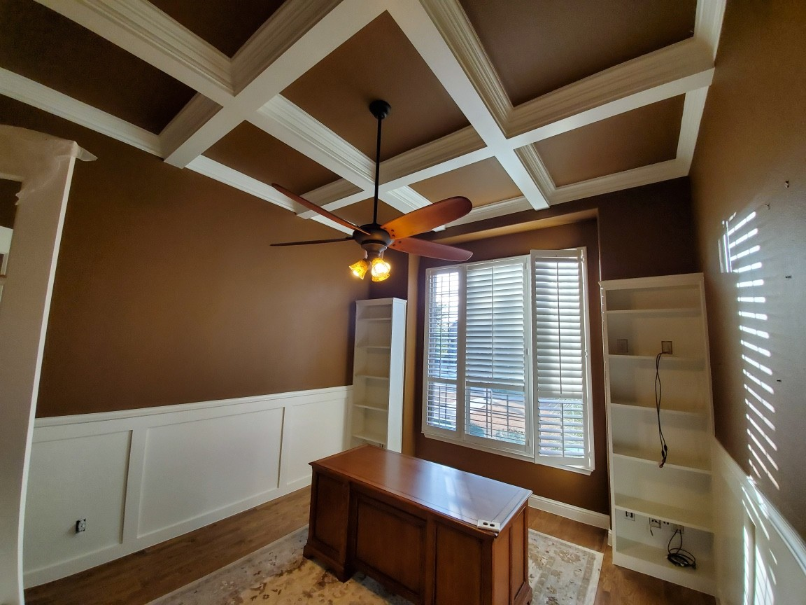 Commercial Office – Upgraded with wainscoting, custom book shelves and coffered ceilings