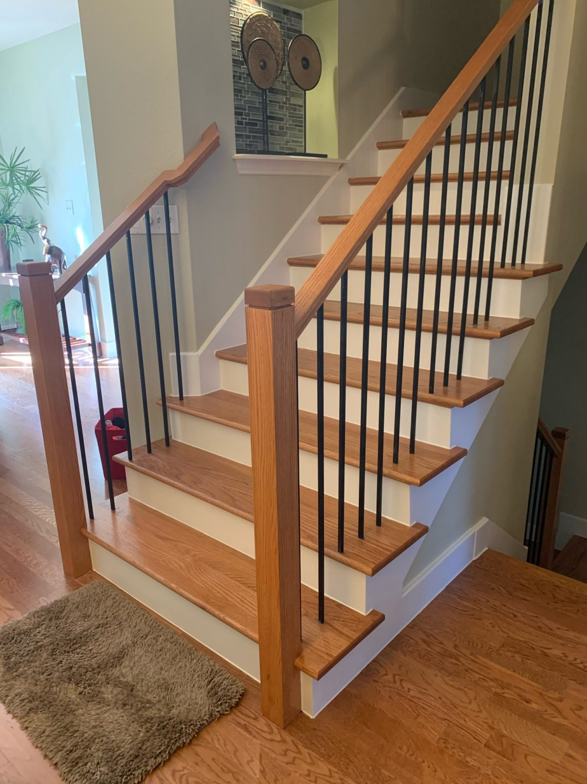 New Red Oak Stairs with New Baseboards