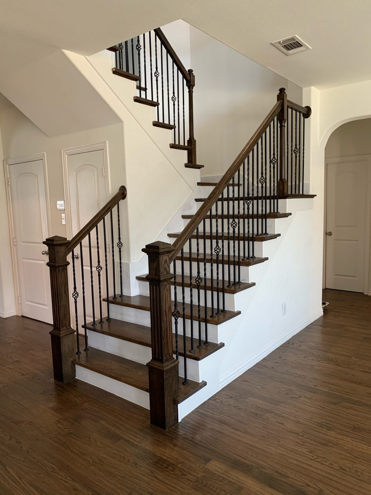 New Red Oak Floors & Staircase stained with classic grey and antique brown mix
